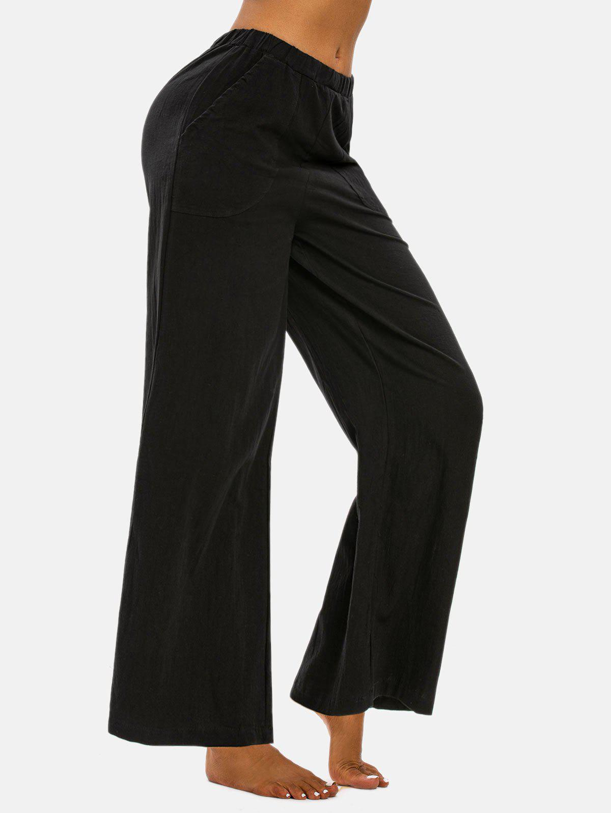 Chic Pull On Pockets Wide Leg Pants