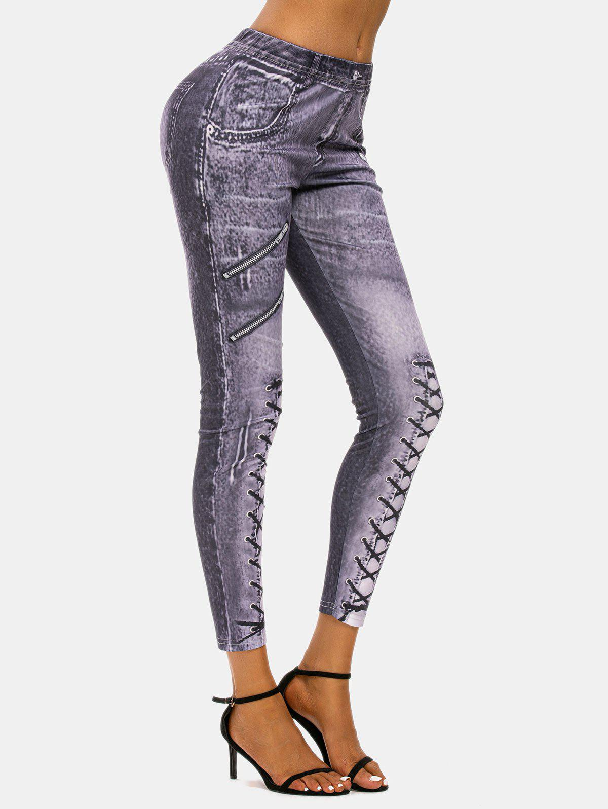 Hot 3D Zip Lace-up Print Skinny Jeggings