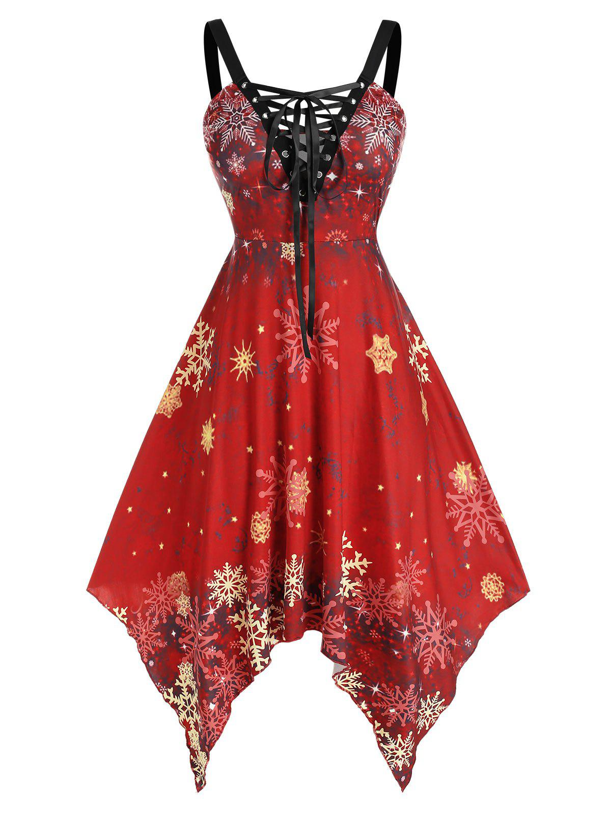 Online Plus Size Snowflake Printed Lace Up Flare Dress