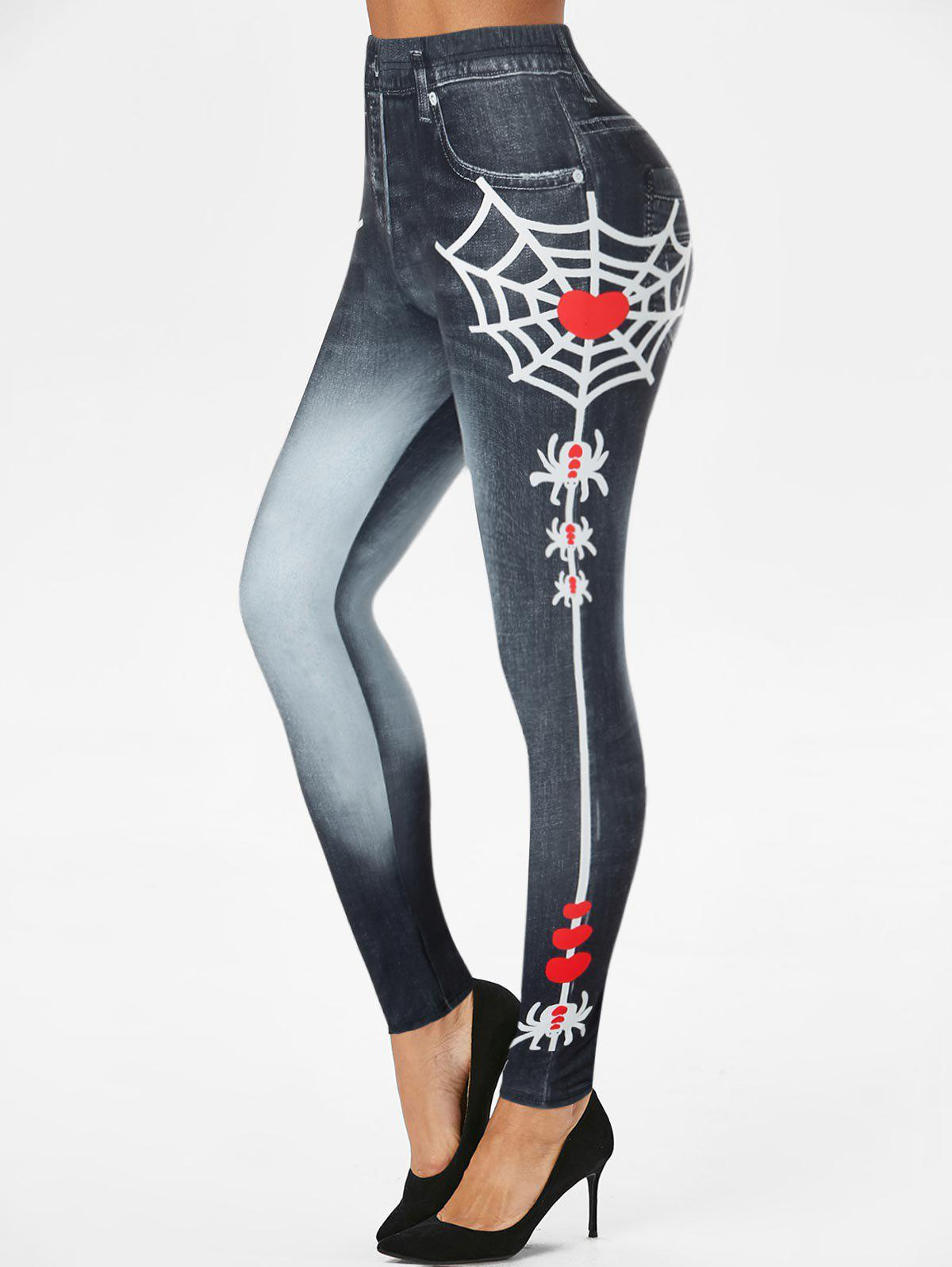 Affordable Halloween Spider Web Heart 3D Print Jeggings