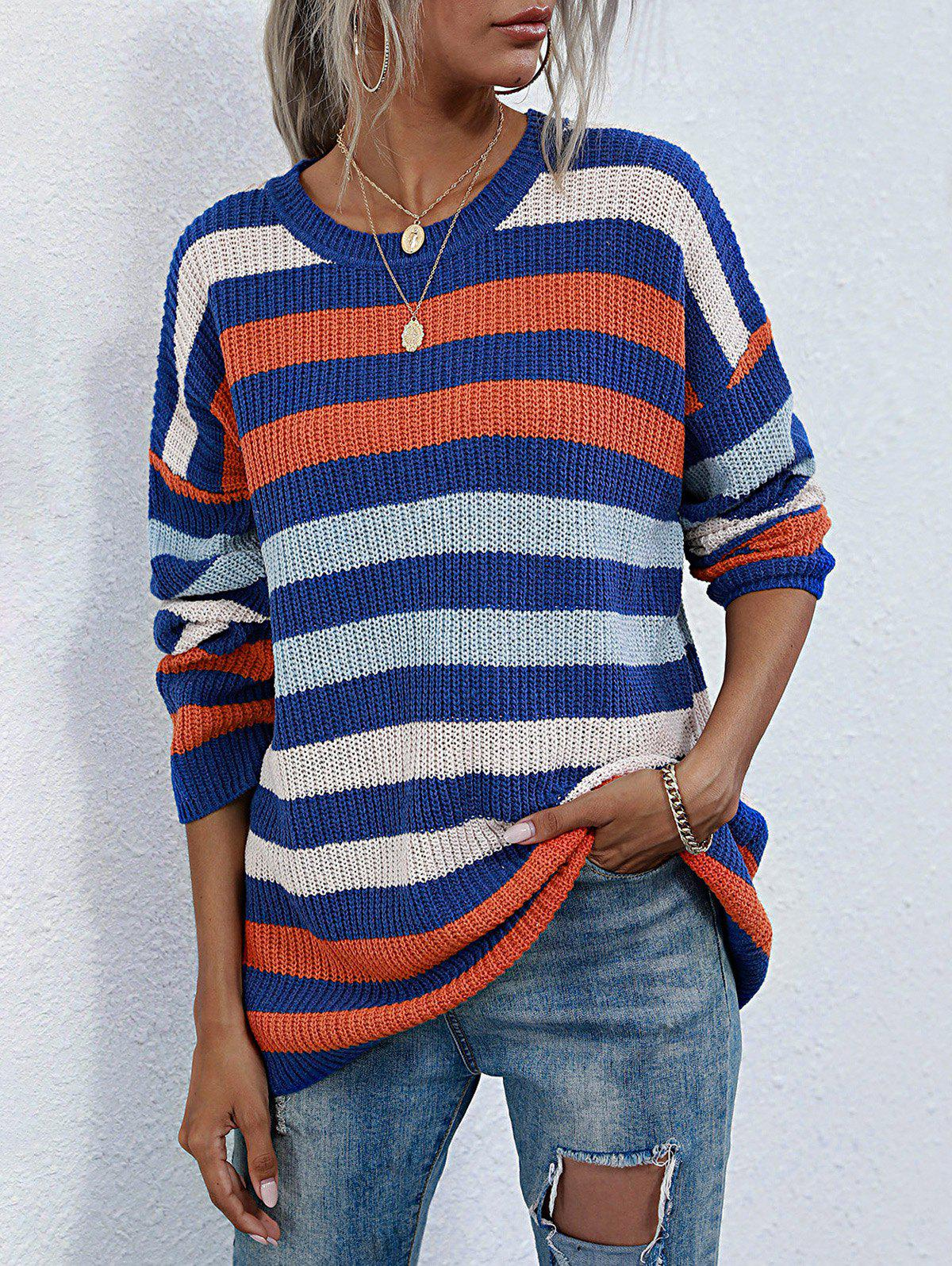 Discount Crew Neck Colorful Striped Tunic Sweater