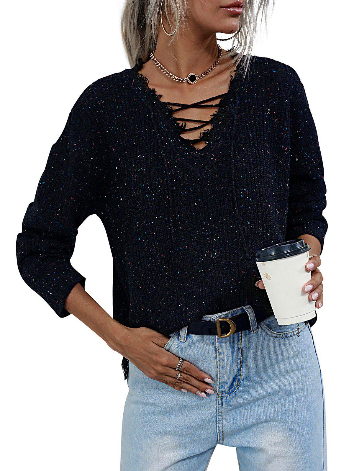 Buy V Neck Lace-up Heathered Distressed Trim Sweater