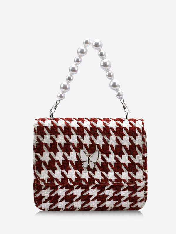 Hot Houndstooth Butterfly Pattern Faux Pearl Cover Crossbody Bag