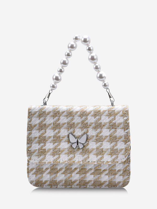 Fashion Houndstooth Butterfly Pattern Faux Pearl Cover Crossbody Bag