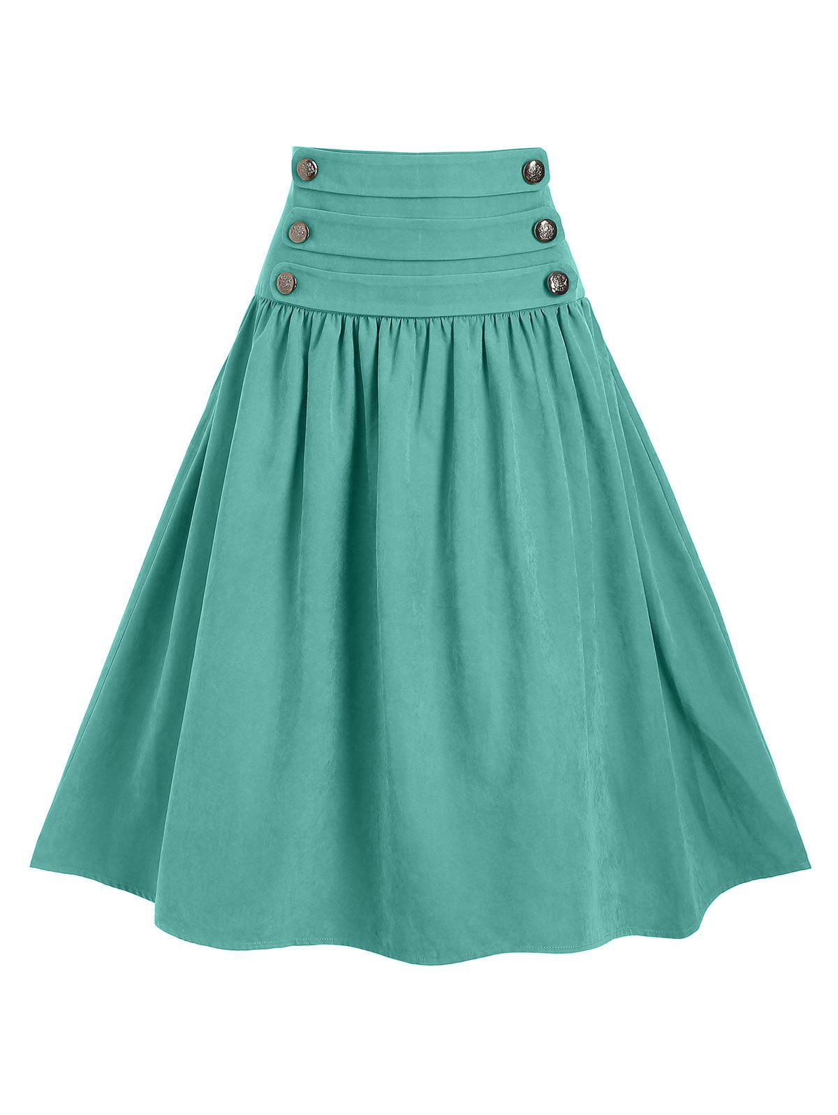 Store Mock Button Tie Back Midi A Line Skirt
