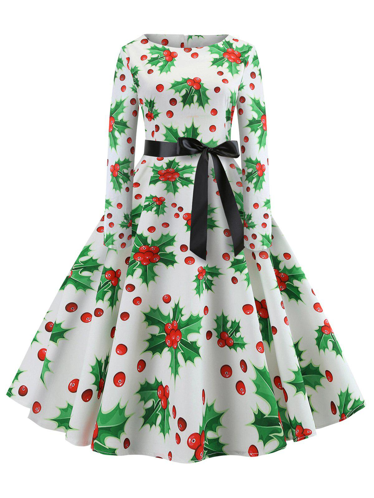 Christmas Berry Print Long Sleeve Belted Dress