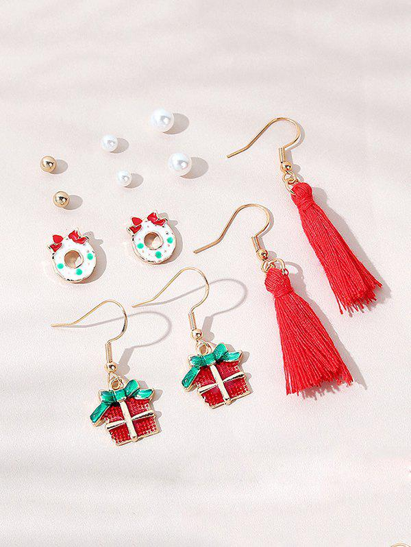 Fashion 6 Pairs Christmas Faux Pearl Cartoon Tassel Earrings Set