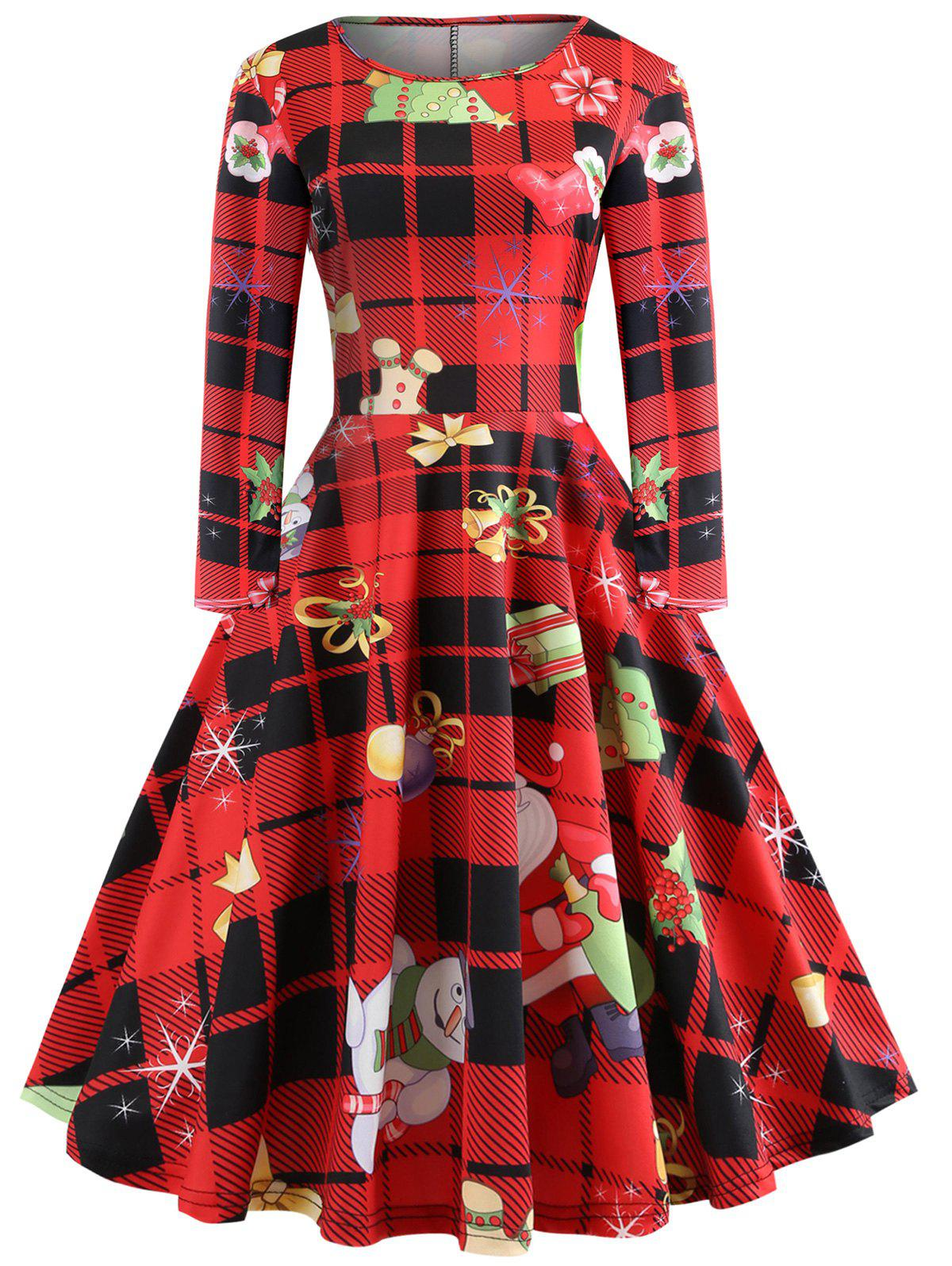 Online Plaid Heart Snowflake Elk Christmas Long Sleeve Dress