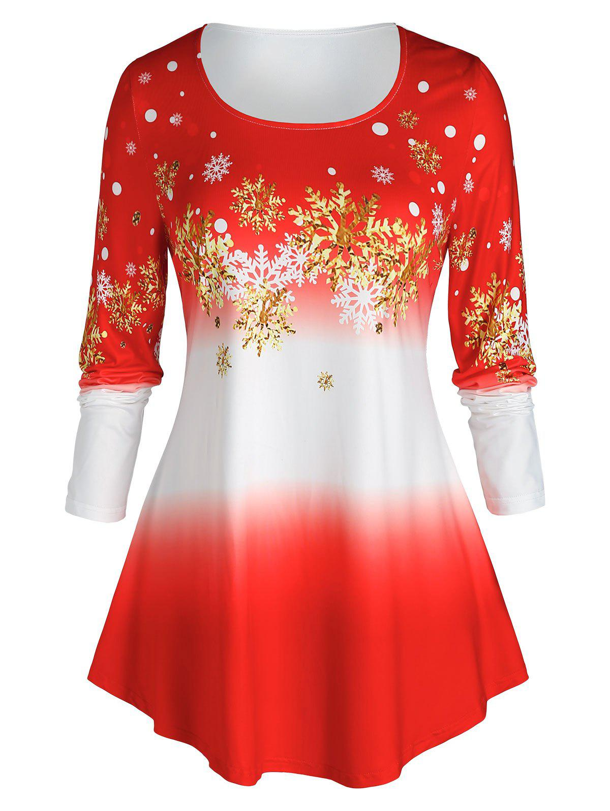 Discount Plus Size Christmas Ombre Color Snowflake Print Tee