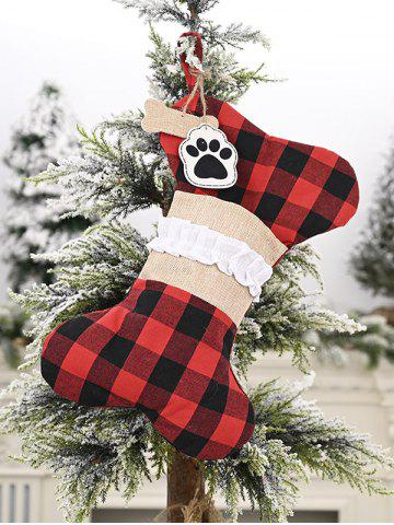 Pet Bone Shape Christmas Stocking Hanging Decor