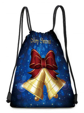 Christmas Bell Bowknot Printed Cinched Bag - COBALT BLUE