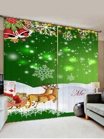 2 Panels Christmas Sleigh Bell Print Window Curtains