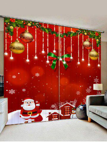 2 Panels Christmas Balls Santa Claus Snowman Print Window Curtains - LAVA RED - W33.5 X L79 INCH X 2PCS
