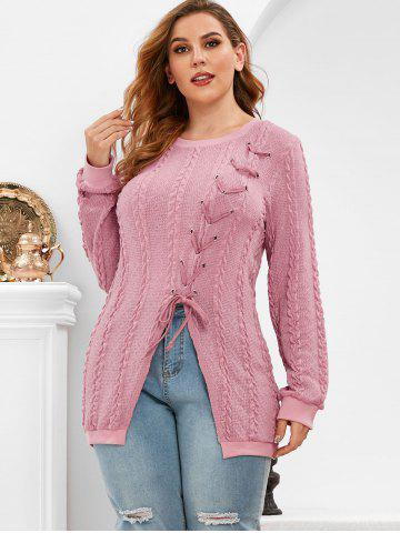 Plus Size Lace Up Split Cable Knit Sweater