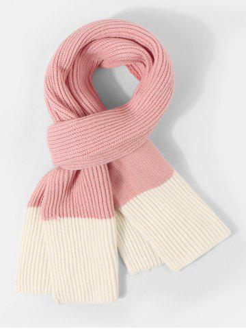Two Tone Knitted Long Winter Scarf - FLAMINGO PINK