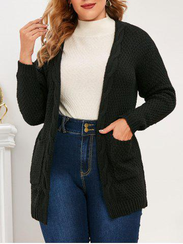 Plus Size Pockets Open Front Chunky Cardigan - BLACK - 3XL