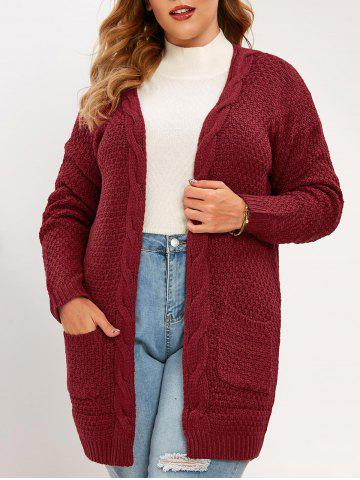 Plus Size Pockets Open Front Chunky Cardigan - DEEP RED - 2XL