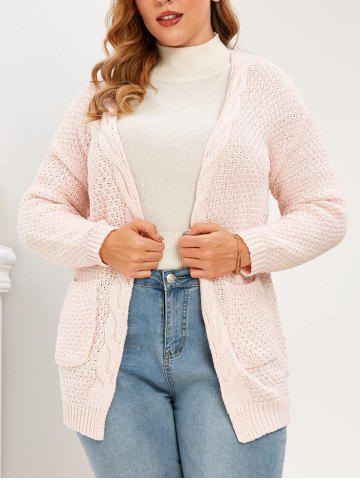 Plus Size Pockets Open Front Chunky Cardigan - PINK - 3XL