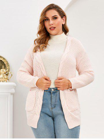 Plus Size Pockets Open Front Chunky Cardigan