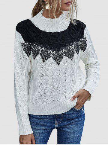 High Neck Bicolor Applique Panel Sweater - WHITE - XL
