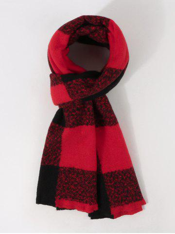 Checked Print Long Winter Scarf - RED