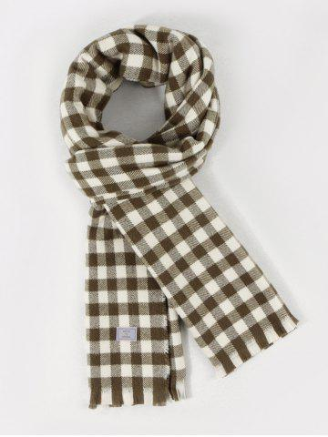 Fringe Long Checkered Pattern Scarf