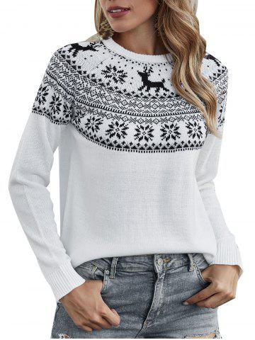 Christmas Elk Graphic Crew Neck Sweater