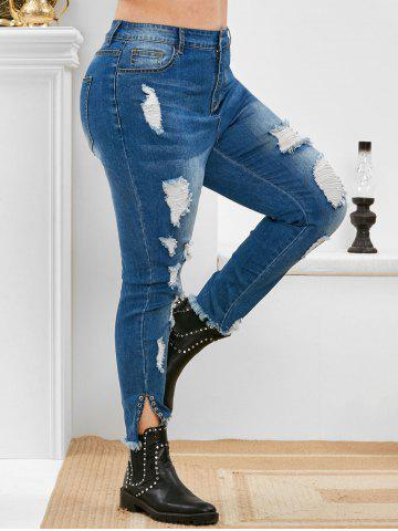 Plus Size High Rise Ripped Eyelet Frayed Jeans