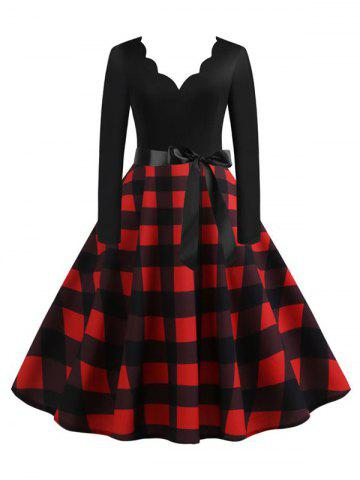Scalloped Plaid Print Belted A Line Retro Dress - DEEP RED - XXL