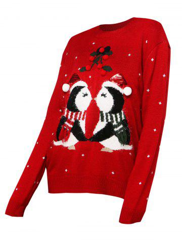 Christmas Berry Funny Graphic Sequined Sweater - RED - XL