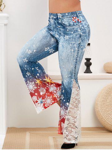 Plus Size Christmas Snowflake Print Bell Bottom Pants