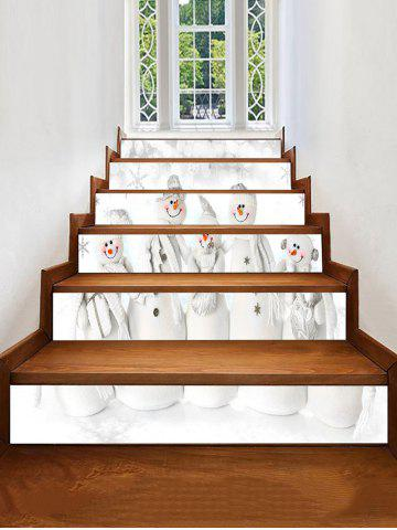 Christmas Snowman Family Print Removable Stair Stickers - MULTI - 6PCS X 39 X 7 INCH( NO FRAME )