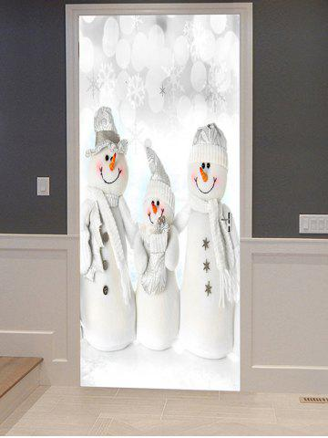 Christmas Snowman Family Print Decorative Door Art Stickers - MULTI - 2PCS X 15 X 79 INCH