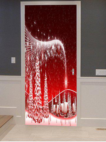 Christmas Tree Village Print Decorative Door Art Stickers - MULTI - 2PCS X 15 X 79 INCH