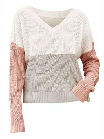 Colorblock Drop Shoulder V Neck Sweater