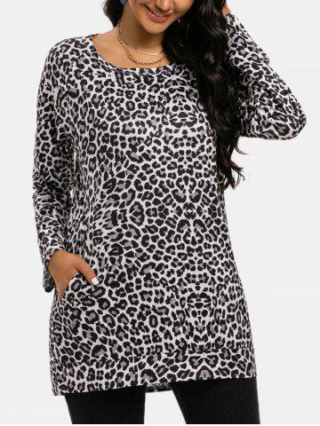 Leopard Slip Pockets Long Sleeve Top - GRAY - 2XL