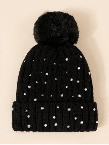 Faux Pearl Rivet Plush Knitted Bubble Hat