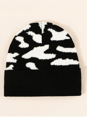 Colorblock Cow Print Knitted Beanie - NIGHT