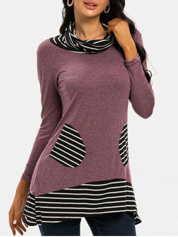 Cowl Neck Striped Patched Pocket Tee - LIGHT PINK - 3XL