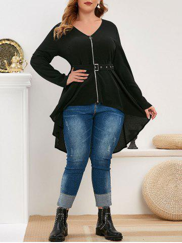 Plus Size Zip Front High Low Belted Blouse - BLACK - L