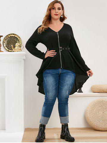 Plus Size Zip Front High Low Belted Blouse