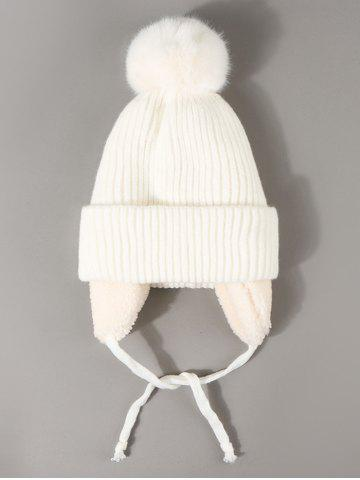 Plush Knitted Ear Warmer Bubble Beanie - WHITE