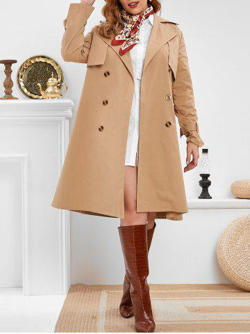 Plus Size Double Breasted Long Trench Coat - CAMEL BROWN - 3X