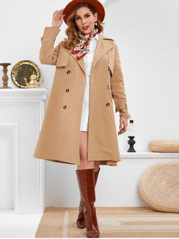 Plus Size Double Breasted Long Trench Coat
