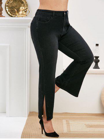 Plus Size Slit Cuffs High Waisted Jeans - BLACK - 3X