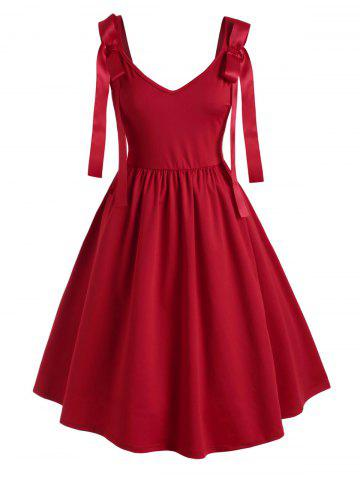 Solid V Neck Bowknot Plus Size Dress - RED - 1X