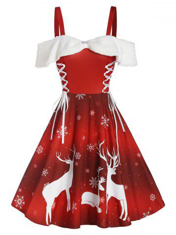 Christmas Elk Snowflake Print Cold Shoulder Lace-up Dress