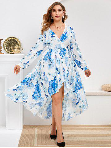 Long Sleeve Floral Wrap Plus Size Maxi Dress