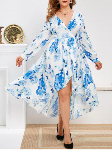 Long Sleeve Floral Wrap Plus Size Maxi Dress - BLUE - 5X