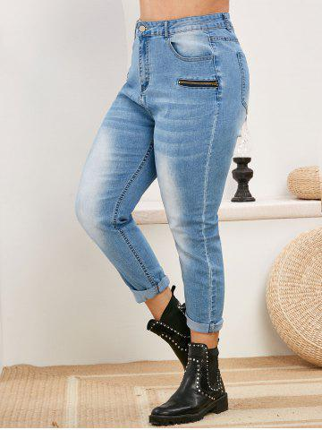 Plus Size High Waisted Faded Skinny Jeans - LIGHT BLUE - 5X